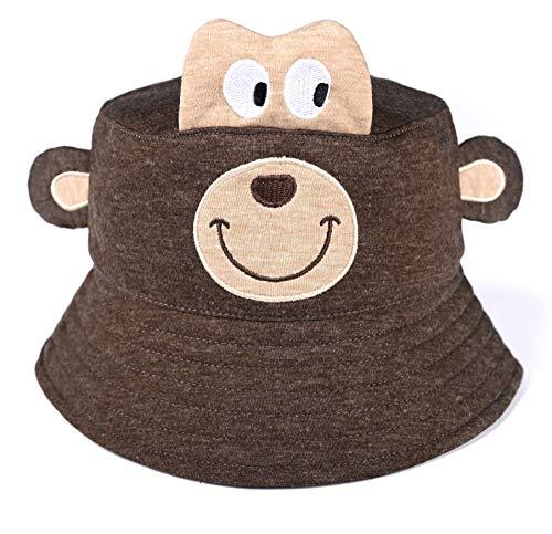 accsa Toddler Kids Boy Bucket Hat Novelty Animal Monkey Brim Hat Summer Beach UPF Sun Protection Age 4-7Y Brown -