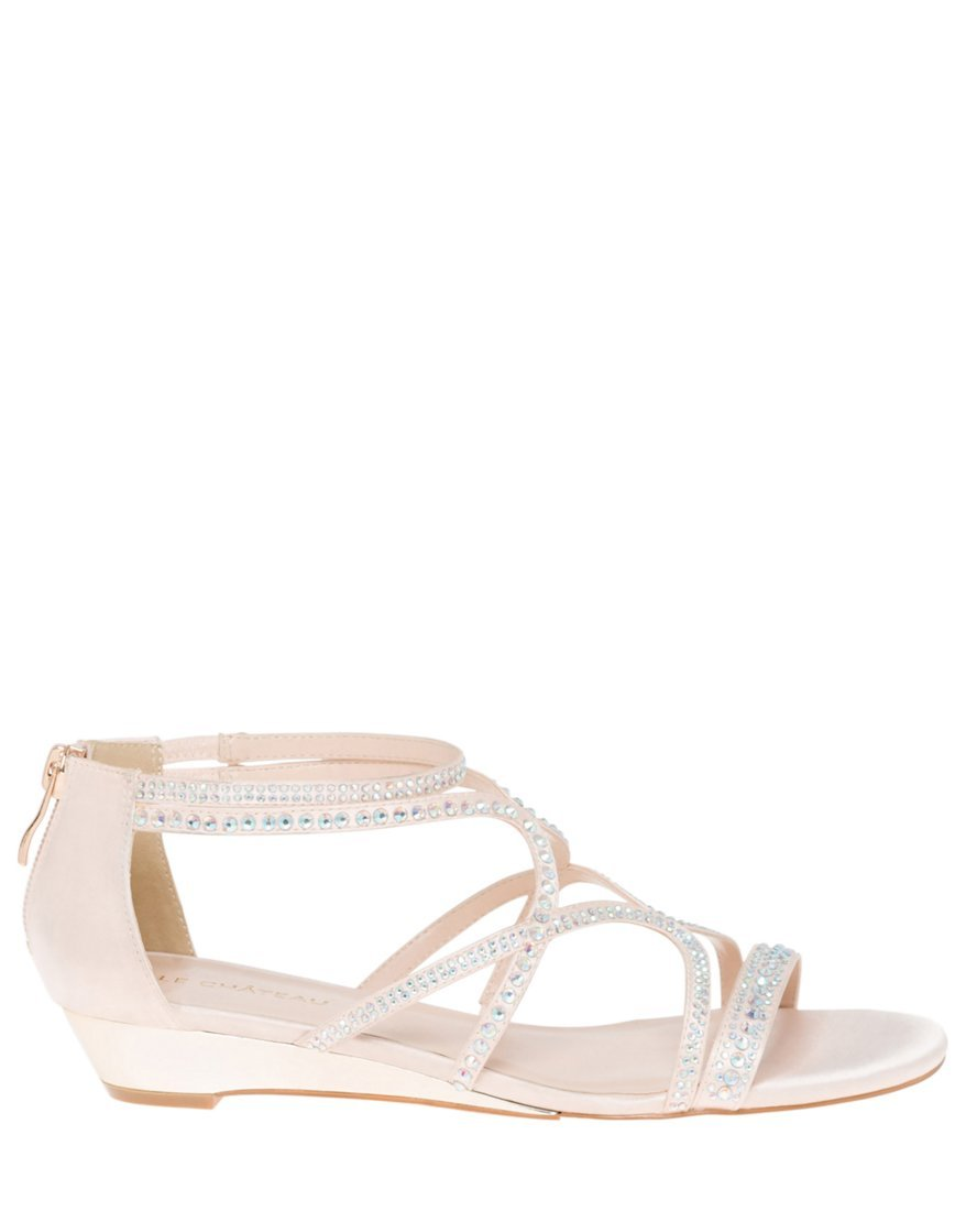 LE CHÂTEAU Women's Embellished Satin Strappy Flat Sandal,36,Nude