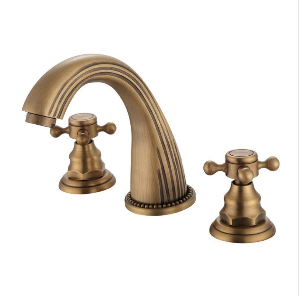 Bathroom Sink Basin Lever Mixer Tap Hydraulic Hardware European Antique Drawing Three-Piece Set Separate Facebasin Faucet