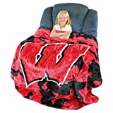 College Covers Wisconsin Badgers Soft Rachel Plush Throw Blanket, 63 x 86''