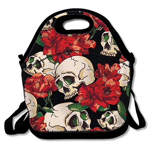 Skull And Rose Lunch Tote for Kids Black Lunch Box Lunch Pail ()