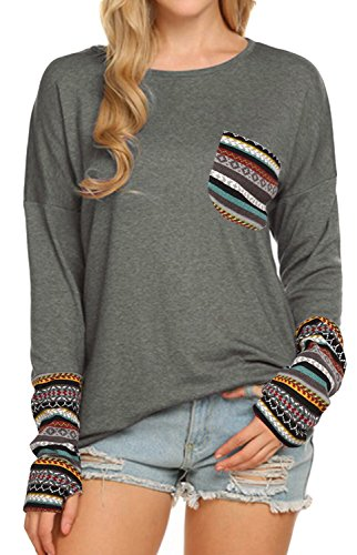 (POGTMM Women's Long Sleeve O-Neck Patchwork Casual Loose T-Shirts Blouse Tops with Thumb Holes (XXL, ZZ New Gary) )