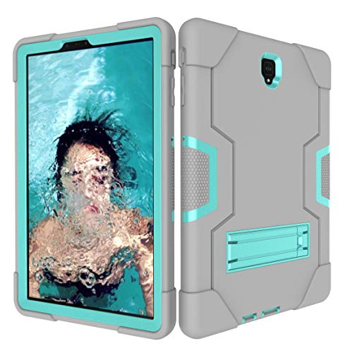 Galaxy Tab S4 10.5 Inch 2018 Case, Heavy Duty Drop Proof Shockproof Protective Hybrid High Impact Resistant Armor Defende Cover with Kickstand for Samsung Tab S4 SM-T830/T835/T837 (Grey+Aqua)