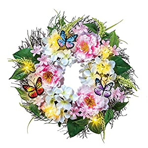 Collections Etc Light Up Peony Floral Wreath with Butterflies - Spring Décor for Home or Outdoor Accent 11