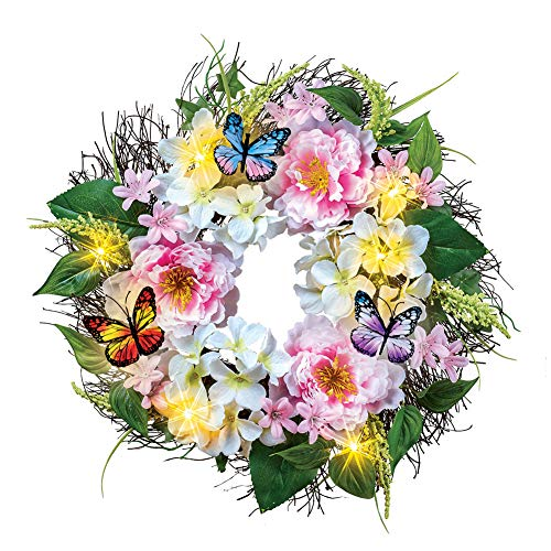 Collections Etc Light Up Peony Floral Wreath with Butterflies - Spring Décor for Home or Outdoor Accent (Up Outdoors Light Wreaths)