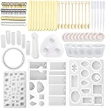 12 Pack Silicone Jewelry Casting Molds, with120pcs Resin Casting Starter Kit Including Screw Eye Pin, Open Jump ring, Wood Stirrer, Plastic Spoon, Dropper, Cup and Finger Cots for Resin Jewelry Making