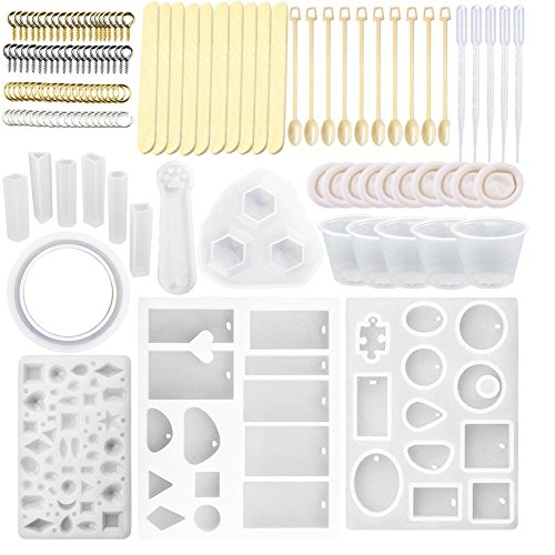 12 Pack Silicone Jewelry Casting Molds, with120pcs Resin Casting Starter Kit Including Screw Eye Pin, Open Jump ring, Wood Stirrer, Plastic Spoon, Dropper, Cup and Finger Cots for Resin Jewelry Making by Shxmlf