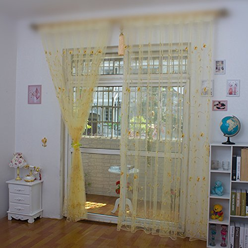 WPKIRA Home Decor Window Treatments Rod Pocket Top Embellishment Rose Embroidery Sheer Window Curtain Drapes Panel Tulle/Voile for Balcony Glass Door 1 Panel , Yellow 63 inch Length - 84' Rod Pocket Draperies