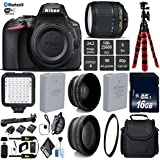 Nikon D5600 DSLR Wi-FI NFC 24.2MP DX CMOS Camera AF-S 18-140mm VR Lens + LED Light kit + UV Protection Lens Filter + 12 inch Flexible Tripod + Camera Case - International Version