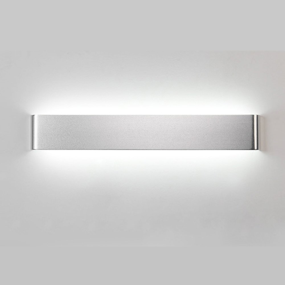 Alotm Modern Aluminum 48cm 18w Sconces Wall Lightning LED Bedroom Wall Lights Fixture Decorative Lamps Indoor Wall Light Lamp for Hallway Corridor Stairs Hotels Decor (Silver Body-Cool White Light)
