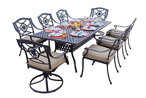 (Darlee 9 Piece Ten Star Cast Aluminum Dining Set with Sesame seat Cushions and 42'' x 84'' Rectangular Dining Table, Antique Bronze Finish)