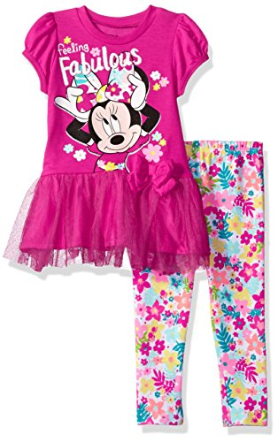 Disney Baby Girls' Minnie Mouse Legging Set With Tulle Fashion Top, Pink, 12M