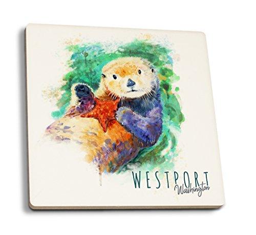 (Lantern Press Westport, Washington - Sea Otter - Watercolor (Set of 4 Ceramic Coasters - Cork-Backed, Absorbent))