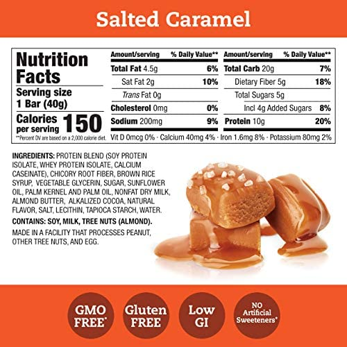 suppose! Protein+ 150 Calorie Bars 10g Protein, 5g Sugar, No Artificial Sweeteners, Gluten GMO Free, Salted Caramel, 14.1 Ounce, (Pack of 10)
