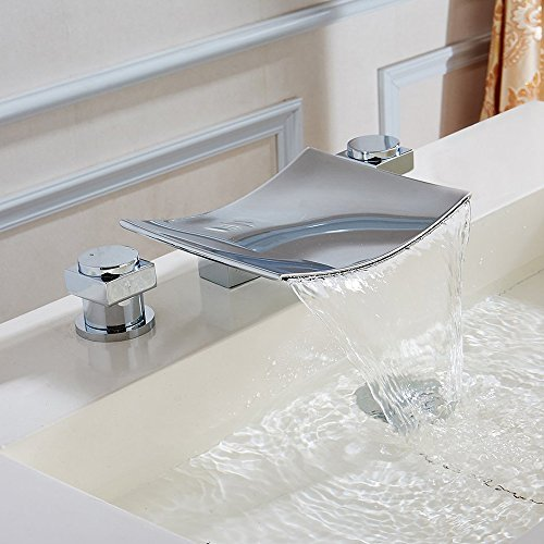 KES Waterfall Roman Tub Faucet Deck Mount Tub Filler 2 Handle Bathtub Faucet 3-Hole Polished Chrome, L5304 -