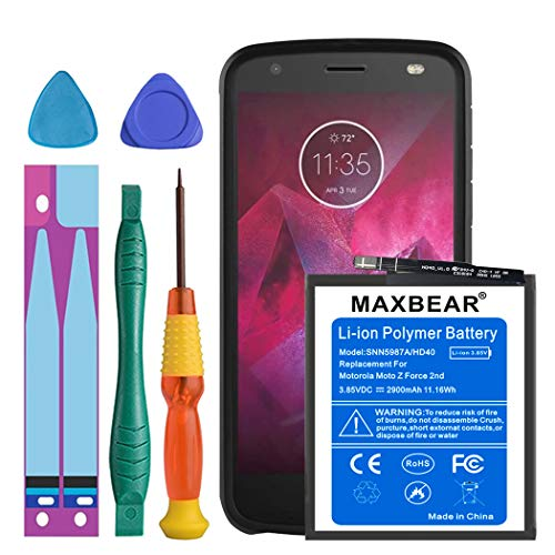 Motorola Moto Z2 Force Battery, MAXBEAR 2900mAh Li-Polymer Replacement HD40 Battery for Motorola Moto Z2 Force XT1789 SN5987A with Repair Screwdriver Kit Tools [12 Month ()