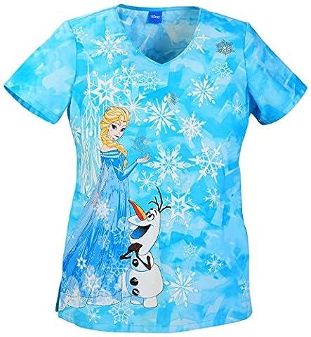 Cherokee Tooniforms Ice Queen & Snowflakes Print Scrub Top, Turquoise,S - Top Snowflakes