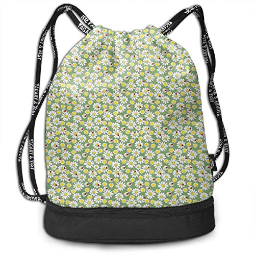 Drawstring Backpacks Bags,Daisy Flora Foliage Gardening Yard Cottage Nature Organic Bloom Design,Adjustable