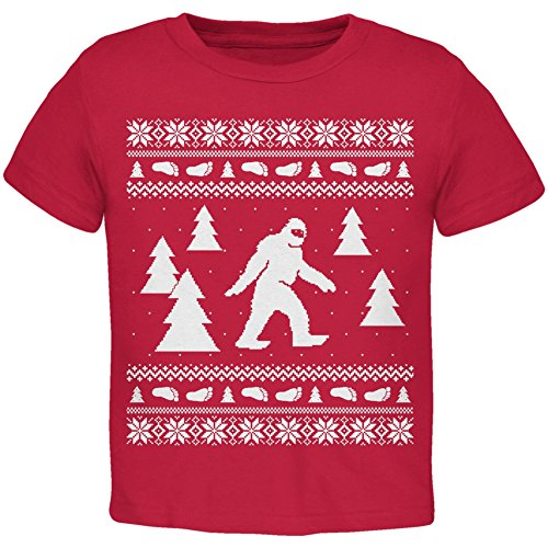 Old Glory Sasquatch Ugly Christmas Sweater Red Toddler T-Shirt - 2T