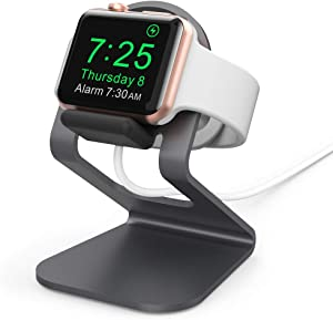 AhaStyle iWatch Charging Stand Dock?Compact Design? Aluminum Desk Holder Accessories Compatible with Apple Watch Series SE/6/5/4/3/2/1(Black)