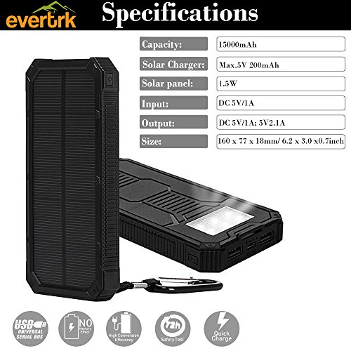 Evertrk Portable Solar Power Bank Charger - Premium Anti-Shock Portable Charger – Portable USB Charger for Outdoor Activities - Compatible with Android iOS and More – 15000mAh (Black) by Evertrk