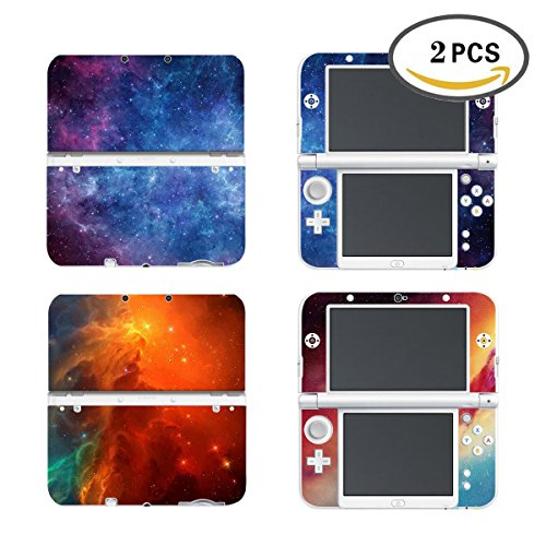 UUShop 2 Pack Protective Vinyl Skin Sticker Cover Wrap for New Nintendo 3DS XL / LL Nebula Light Galaxy 2 in 1