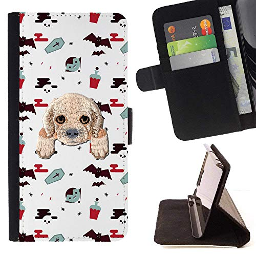 [ Cocker Spaniel ] Embroidered Cute Dog Puppy Leather Wallet Case for Samsung Galaxy A5 (2017) [ Halloween Vampires Pattern ]