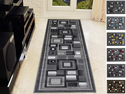 Handcraft Abstract – Black/Silver/Gray Geometric Modern Squares Pattern Area Rug 2 ft. by 7 ft. Runner.