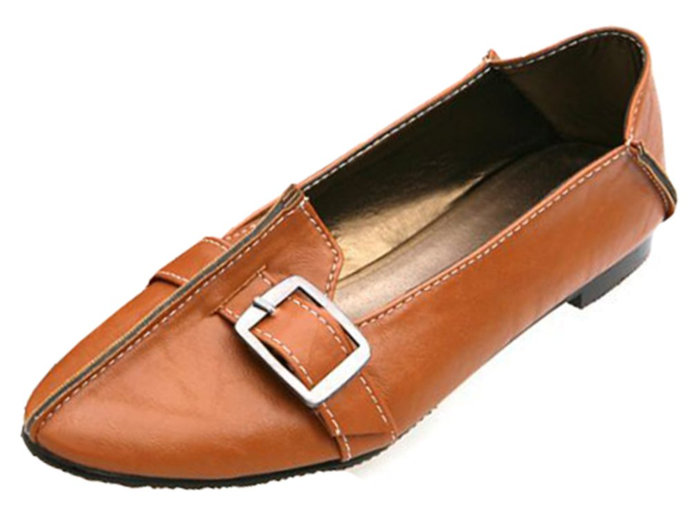 IDIFU Women's Casual Buckle Low Top Slip On Flats Shoes Closed Pointed Toe Office Loafers Brown 10.5 B(M) US