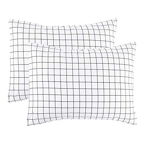 Gingham Standard Sham - Wake In Cloud - Pack of 2 Pillow Cases, 100% Cotton Pillowcases, Black White Grid Geometric Modern Pattern Printed (Standard Size, 20x26 Inches)