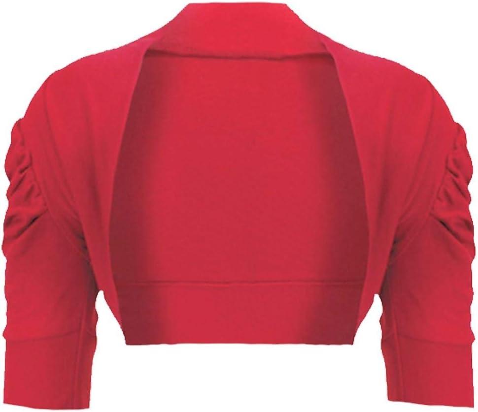 Girls Plain Bolero Shrug Kids Ruched Sleeve Cropped Cardigan Casual Top