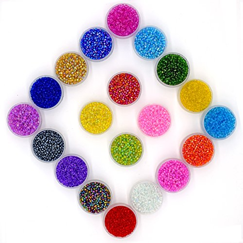 MATENG 2mm Multicolor Beading Glass Seed Beads,Round Glass Seed Beads About 16000pcs 20 Colors with 0.6mm Round 10 Meters long DIY Beads Line. -