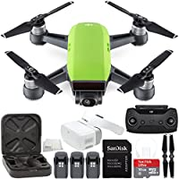DJI Spark Portable Mini Drone Quadcopter + DJI Goggles Virtual Reality VR FPV POV Experience Ultimate Bundle (Meadow Green)