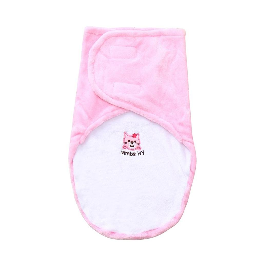 Newborn Infant Baby Toddler Sets 0-24 Months Comfortable Cashmere Blends Soft Swaddle Sleeping Blanket Wraps Sleeping Bag (Pink)