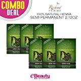 6 Pcs Combo Deal Reshma Henna Semi Permanent Hair Color 2.12oz (Raven-Black)