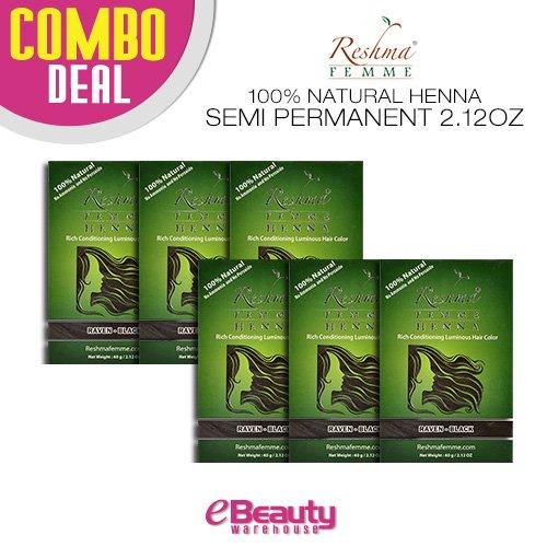 6 Pcs Combo Deal Reshma Henna Semi Permanent Hair Color 2.12oz (Raven-Black) by Reshma