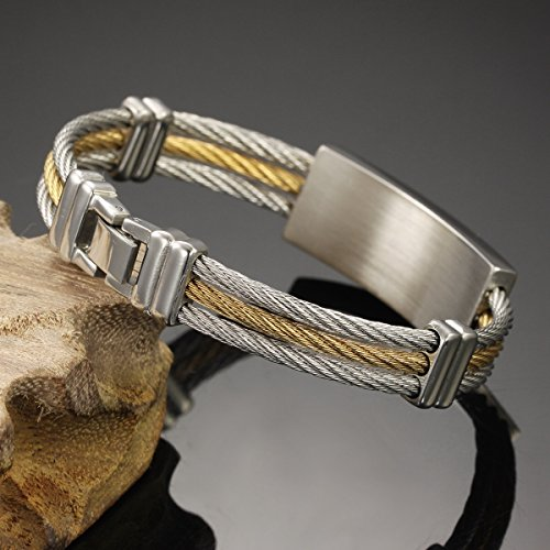 Housweety Bande / Bracelet En Acier Inoxydable Corde Tressee Acier Pour Homme Croix