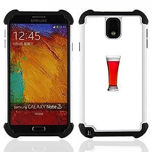 """SAMSUNG Galaxy Note 3 III / N9000 / N9005 - 3 en 1 impreso colorido de Altas Prestaciones PC Funda chaqueta Negro cubierta gel silicona suave (Minimalista Glass Stout Ale Bebida"""")"""