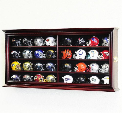 Miniature Football Display - 32 Pocket Pro mini Helmet Display Case Cabinet Holders Rack w/ UV Protection, Cherry