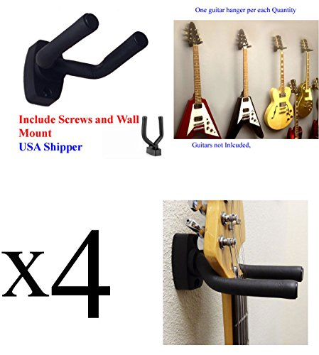 Guitar Hanger Holder Rack Wall Mount Display-Fits ALL size Guitars, Saving Alternative to Display Case (4 Hanger...
