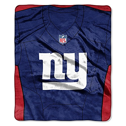 The Northwest Company New York Giants NFL Royal Plush Raschel Blanket (Jersey Raschel) (50in x 60in) (New York Giants 50x60 Plush)