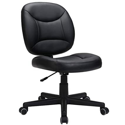 Peachy Lasvillas Ergonomic Pu Leather Mid Back Executive Office Chair With Adjustable Height Computer Chair Desk Chair Task Chair Swivel Chair Guest Chair Theyellowbook Wood Chair Design Ideas Theyellowbookinfo