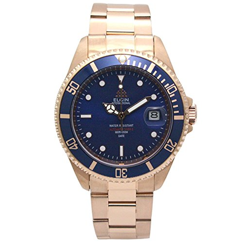 Elgin Bezel Watch (ELGIN Watch 200M waterproof Automatic Movement made in Japan rotating bezel All stainless Blue ~ Rose Gold FK1405PG-BL Men's)