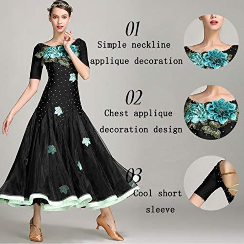 Sexy Lrr Standard Gonna Donne Ballo Backless Nazionale Costumi Da Vestito Contrasto Moderno Nero Professionale Ricamato znFqrzawp