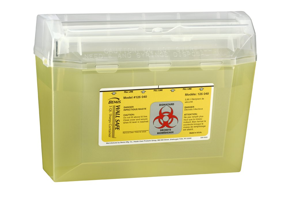 Bemis Healthcare 125040-5 3 quart Wall safe Sharps Container, Translucent Yellow (Pack of 5)