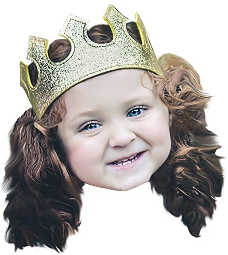 Fun Play Time Glitter Stretch Crown in Gold Boy or Girl Toddler Dress Up ()