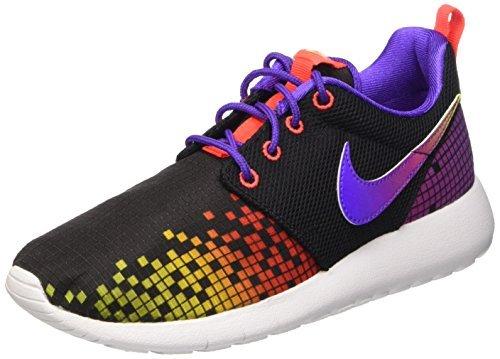 Nike Kid's Roshe One Print GS, BLACK/WHITE-HYPER VIOLET-VOLT, Youth Size 7 (Nike Sneakers For Girls)