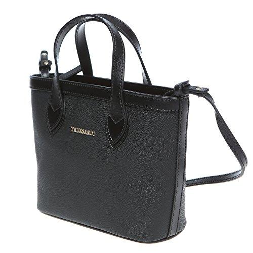 Trussardi Mujer Peque?o bolso de compras con correa de hombro, cuero genuino de ternera 24x16x8 Cm Mod. 76B112M Negro