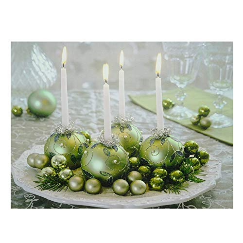 Northlight LED Lighted Sparkling Ornament Centerpiece Christmas Canvas Wall Art 11.75