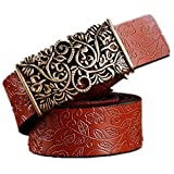 Genuine Cowskin Leather Belts For Women Carved Design Retro Metal Women Strap Cintos Ceinture Female Hig